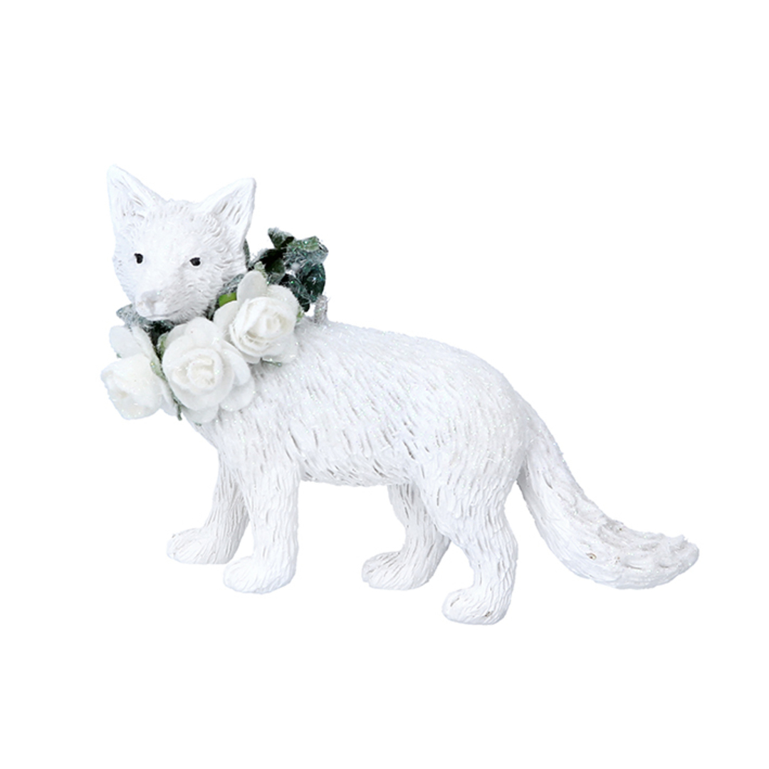 Resin White Flower Fox 9cm image 0