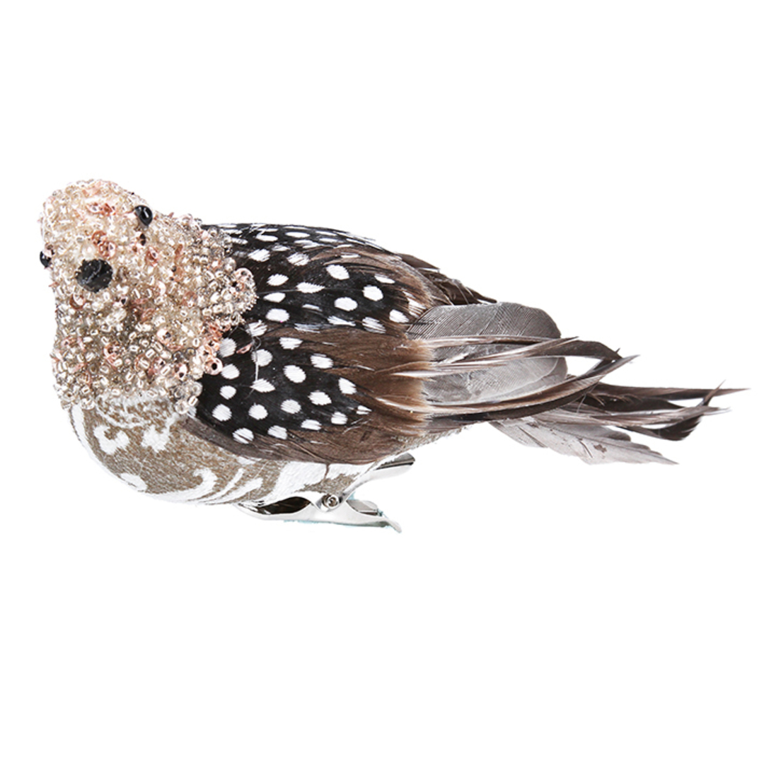 BirdClip Bead Feather Partridge 18cm image 0