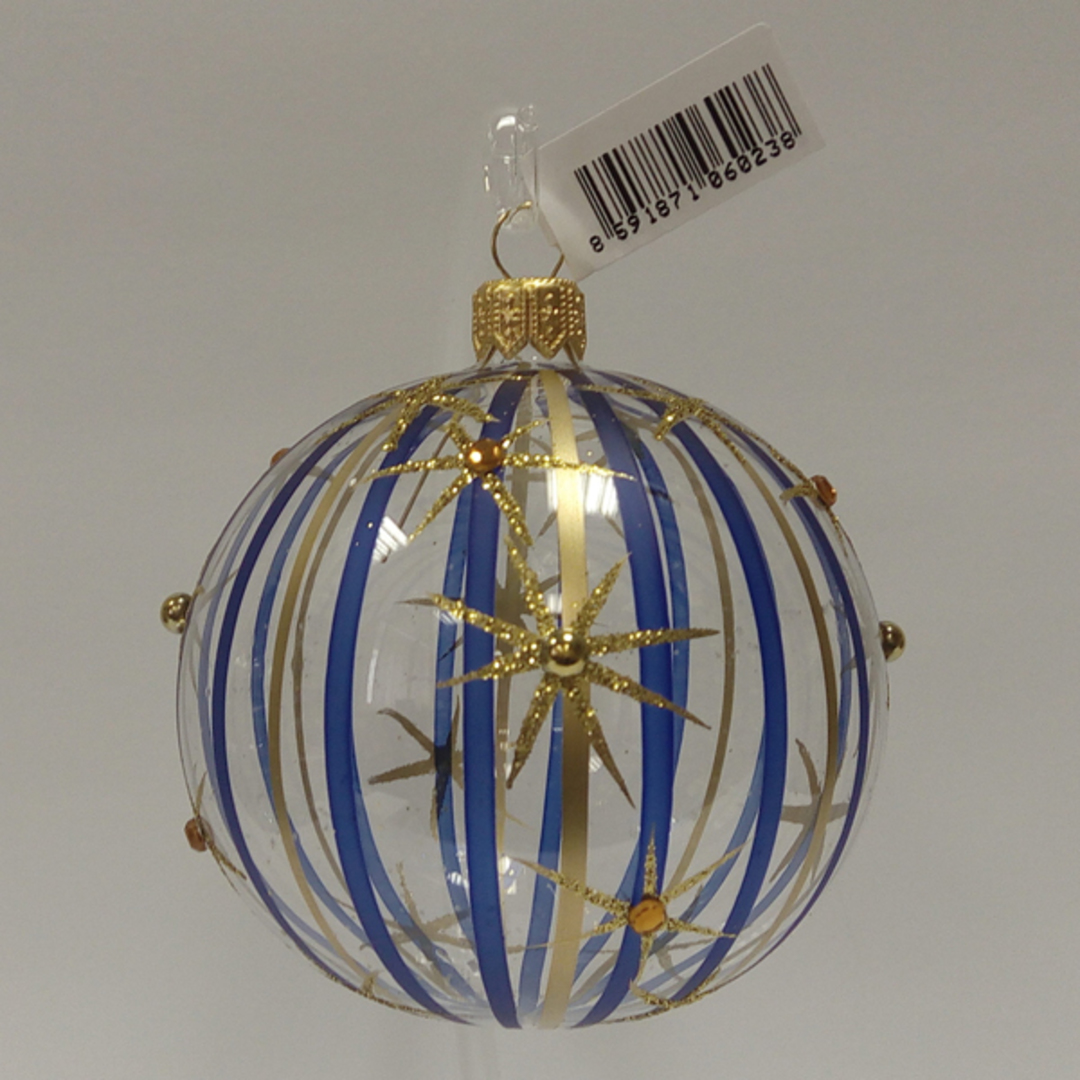 Glass Ball Clear, Blue and Gold Stripes and Stars 8cm image 0
