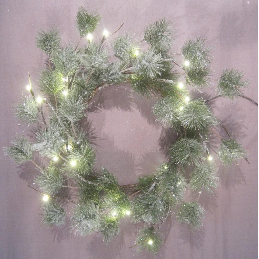 Snowy Green Pine Wreath 40cm, 24 LED Lights image 0