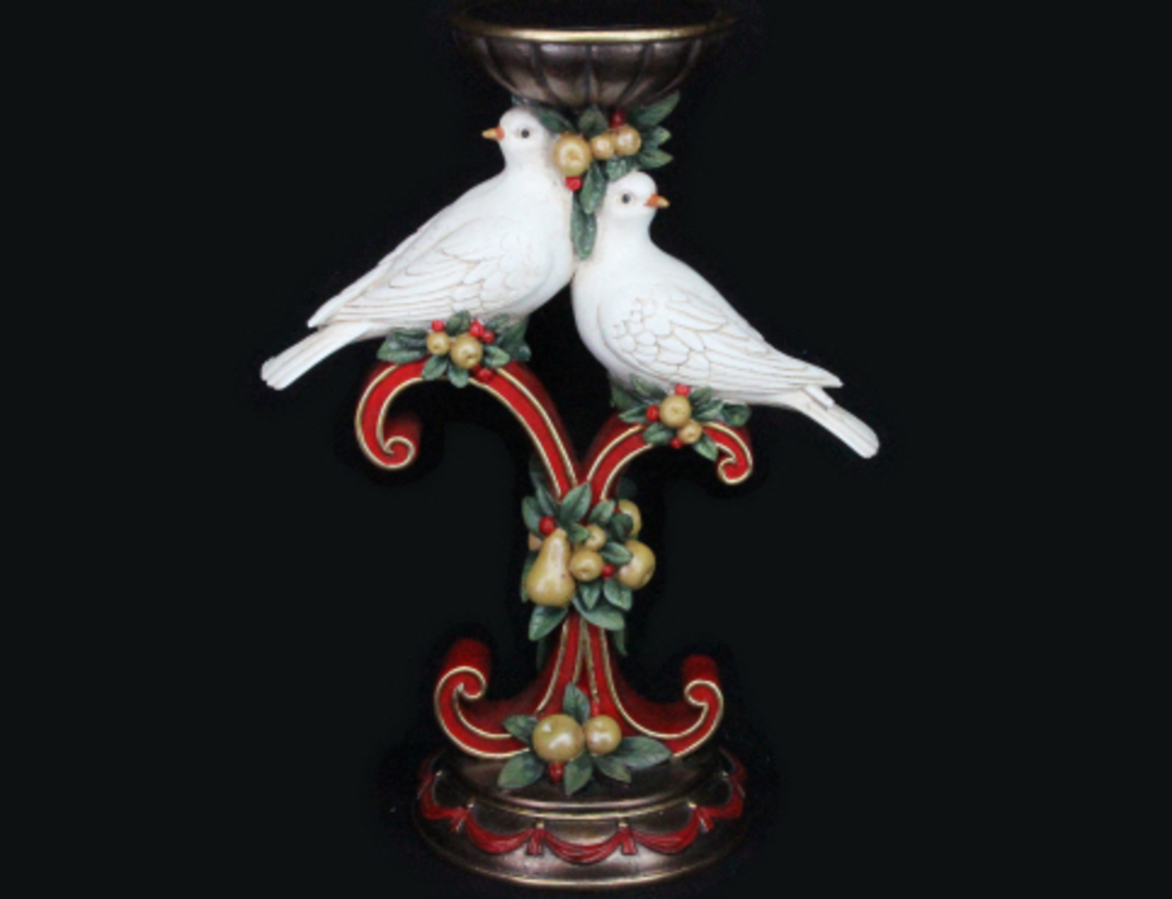 Pillar Candle Stand with Turtle Doves 30cm image 0