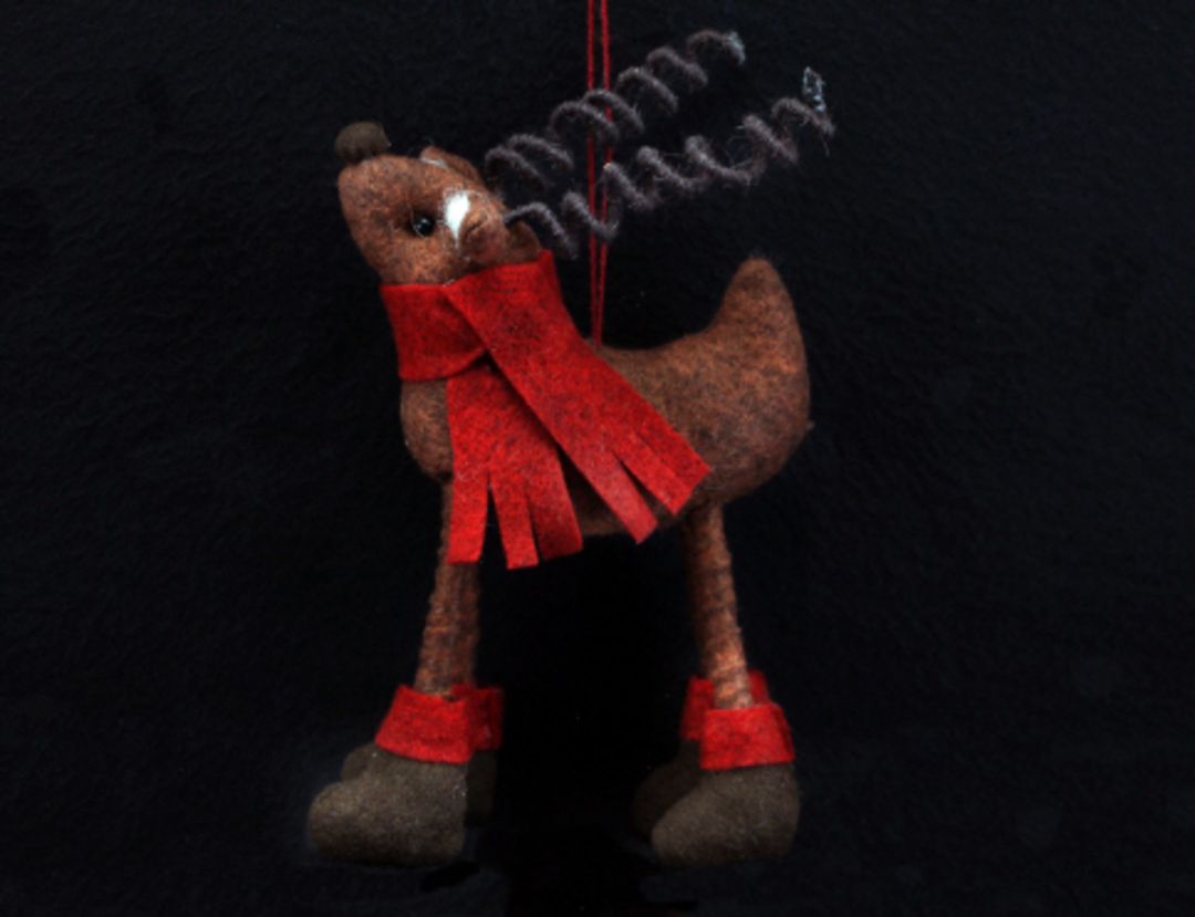 Brown Wool Reindeer with Red Scarf 14cm image 0