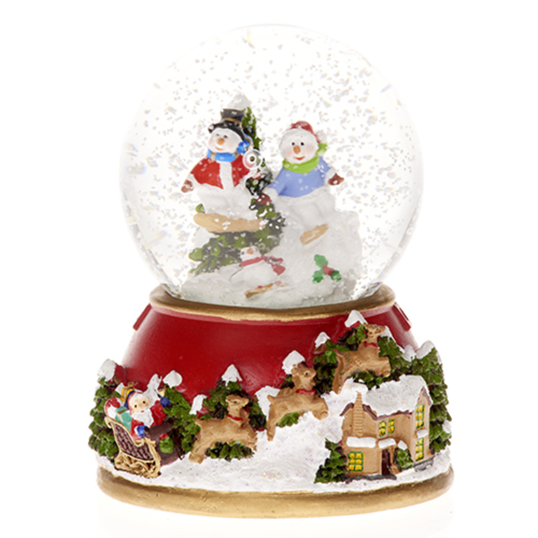 Musical LED SnowGlobe Snowmen with Tree image 0