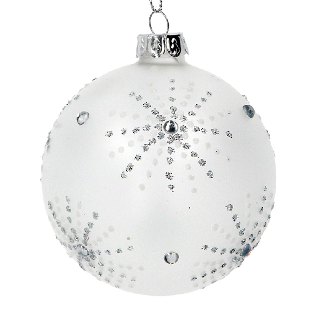 Glass Ball White, Silver Star Burst 8cm image 0