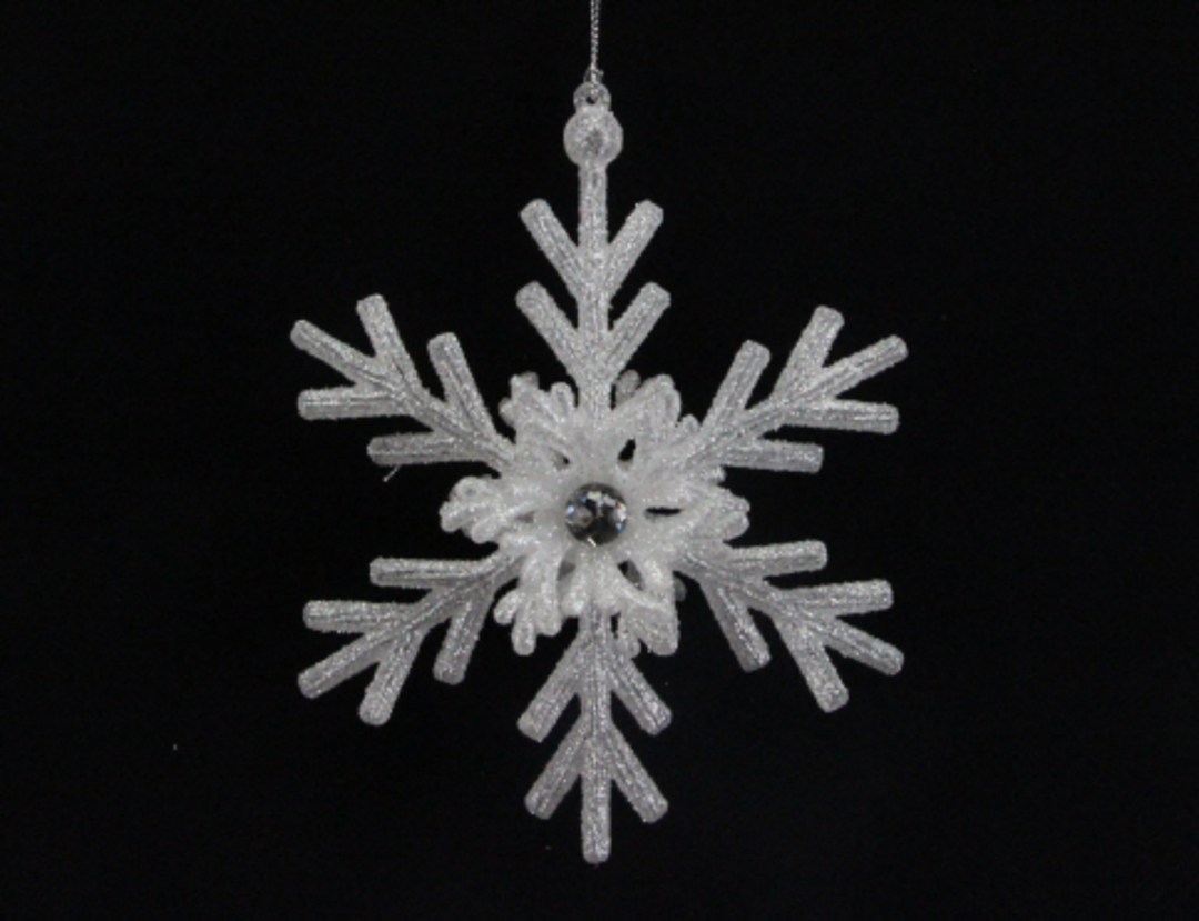 Pale Silver Glitter Acrylic Snowflake image 0