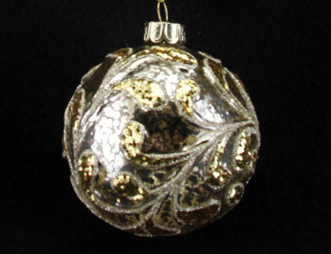Glass Ball Clear, Antiqued Gold Leaves 8cm image 0