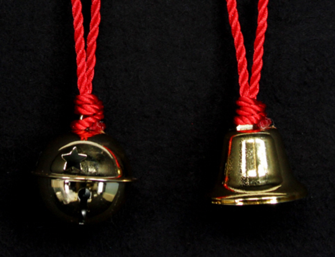 Metal Bell Gold on Red Cord 5cm image 0