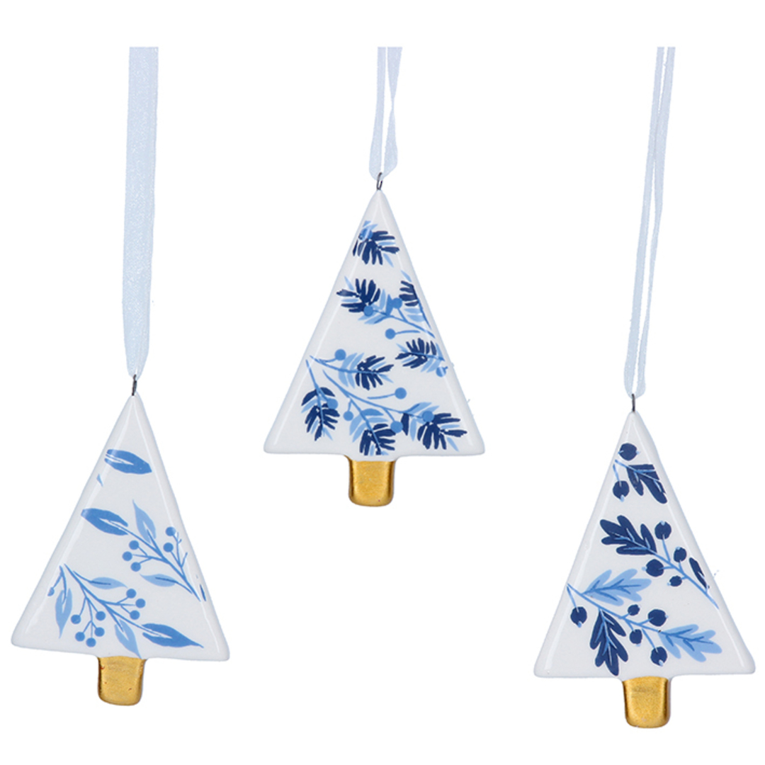 Ceramic White Blue Gold Tree 7cm image 0