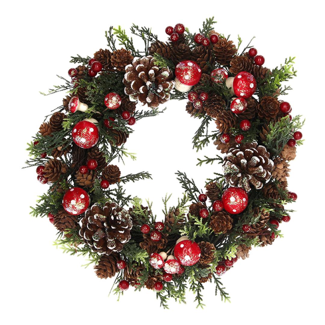 Wreath, Pincones & Toadstools 33cm image 0