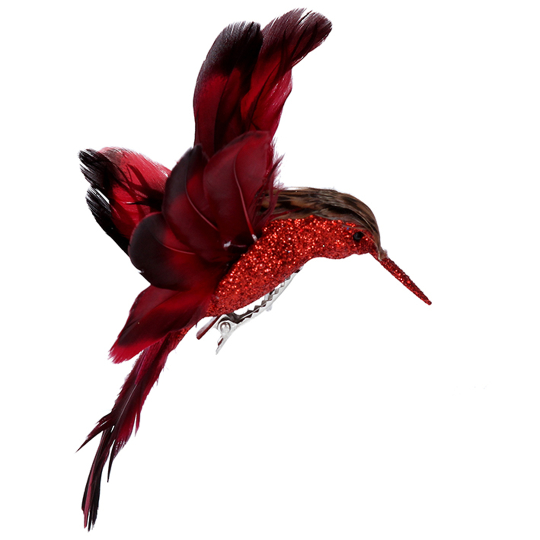 BirdClip Red Feather HummingBird 10cm image 0