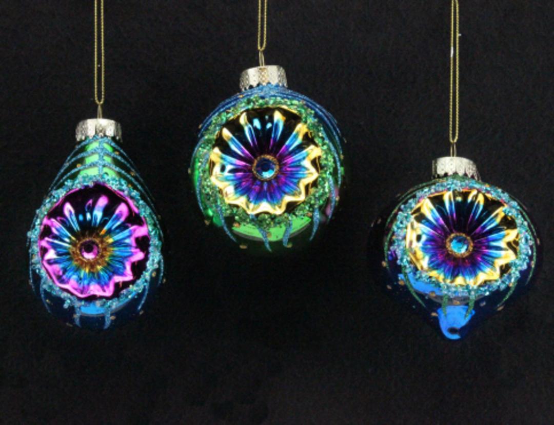 Glass Ball Reflector Peacock Colours 12cm image 0
