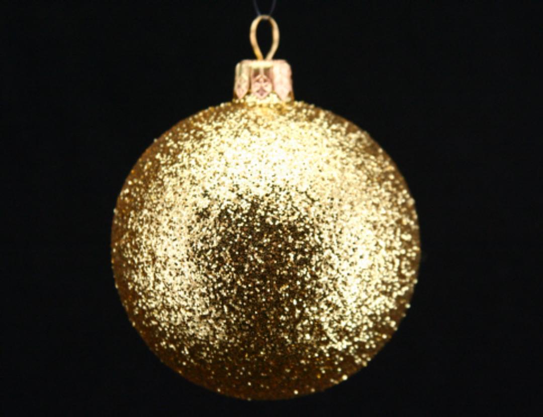 Plastic Ball, Gold Glitter 7cm image 0