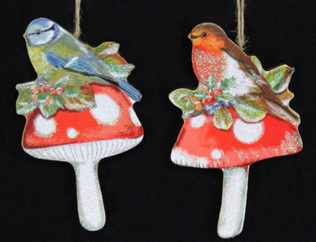 Wooden Bird on Mushroom 8cm image 0