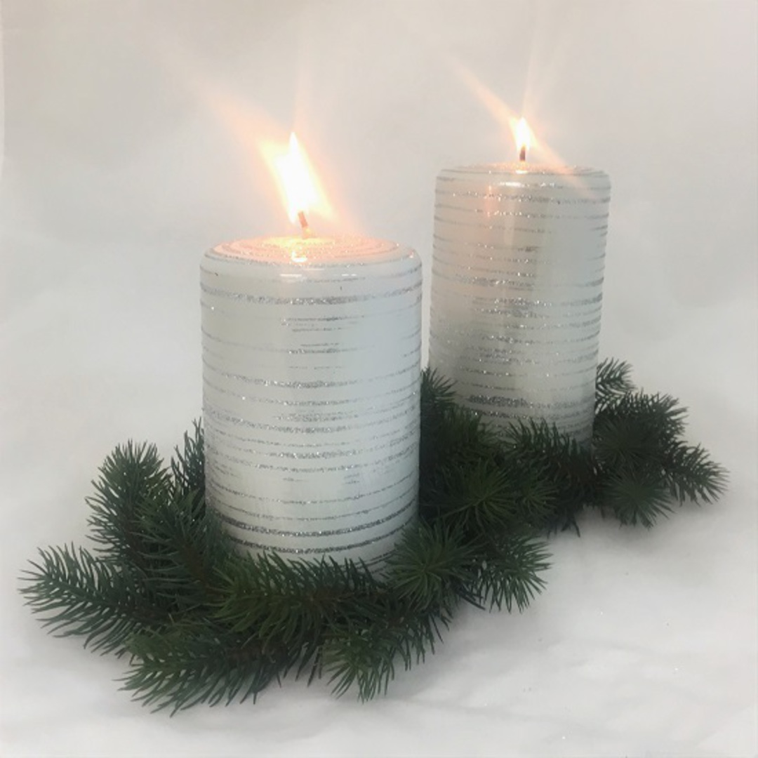Metallic White with Silver Glitter Candle image 0