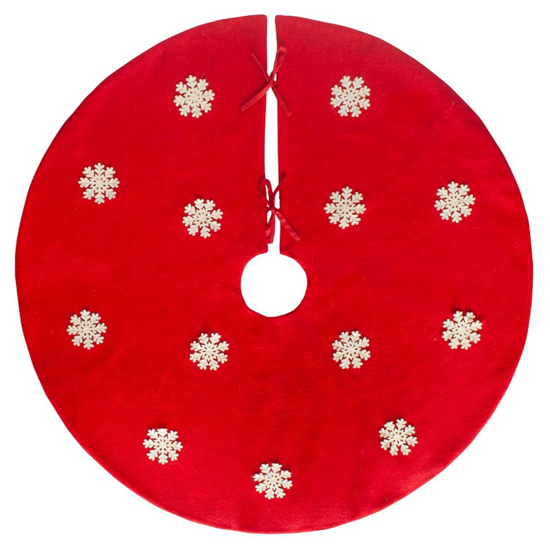 Xmas Tree Skirt, Red Felt with White Felt Snowflakes image 0