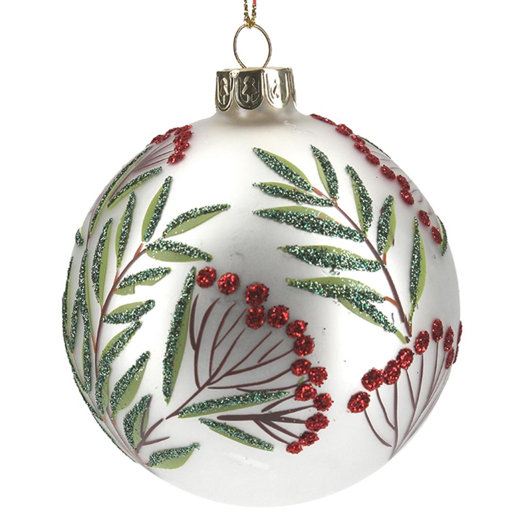 Glass Ball Matt White, Berries and Leaves 8cm image 0