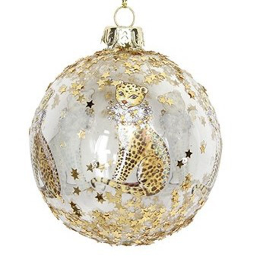 Glass Ball Clear, Gold Leopard 8cm image 0
