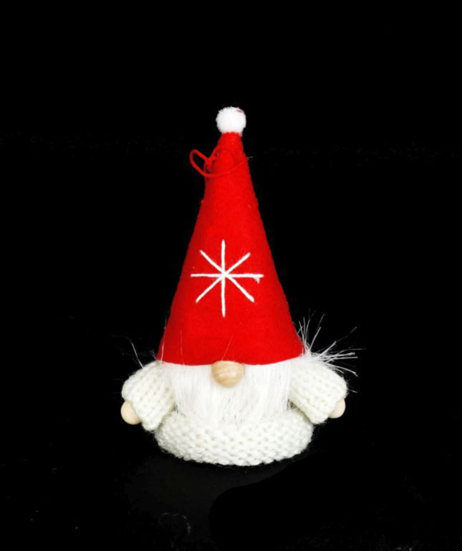 Santa White Knit Jumper, Red Hat image 0