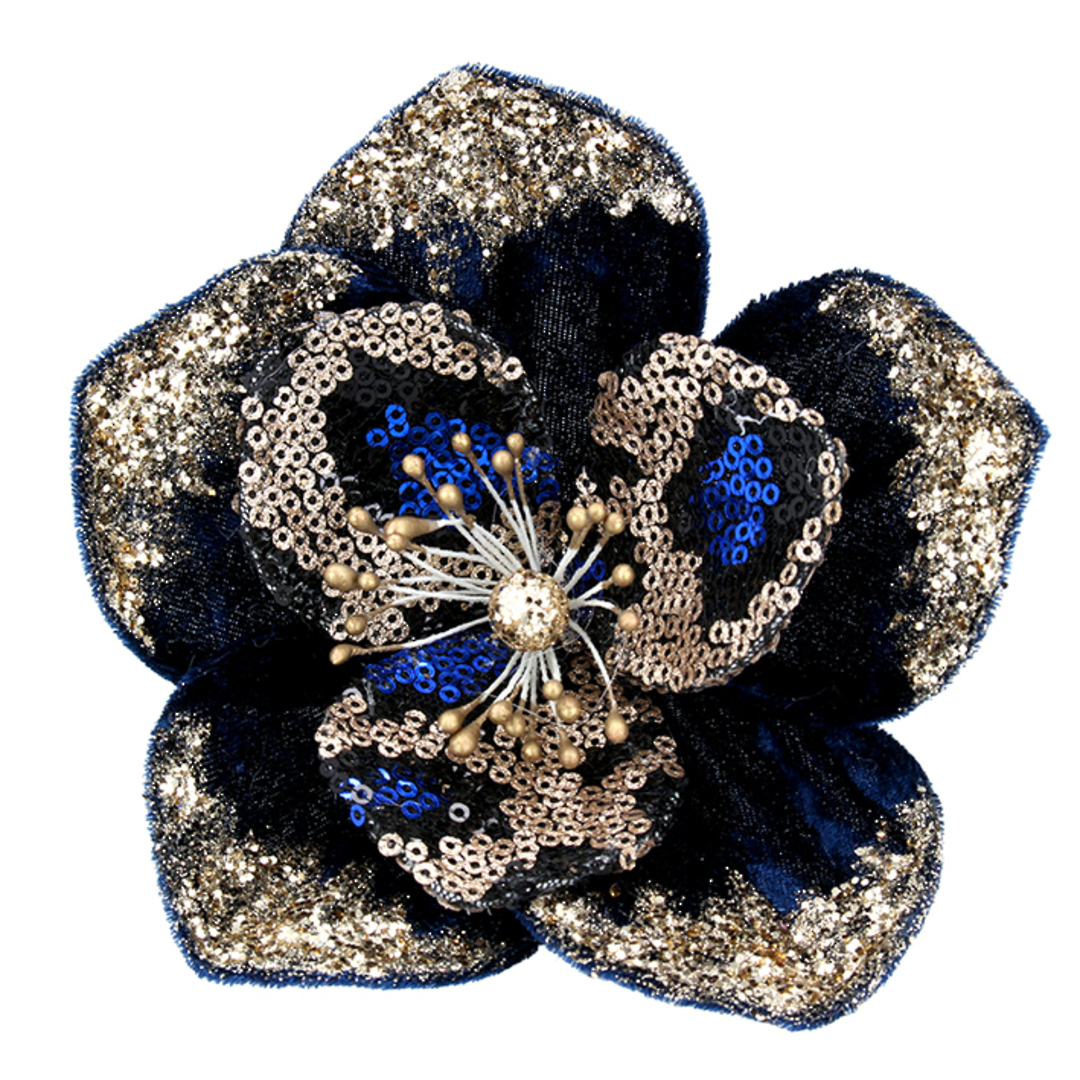 Fabric Cobalt & Gold Sequin Magnolia Clip 13cm image 0