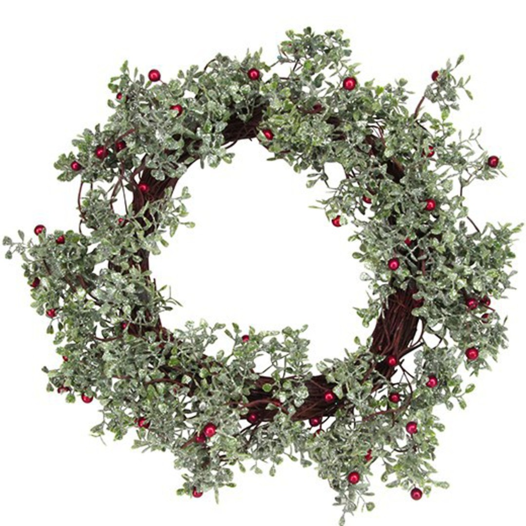 Frosted Leaf, Berry & Twig Wreath 45cm image 0