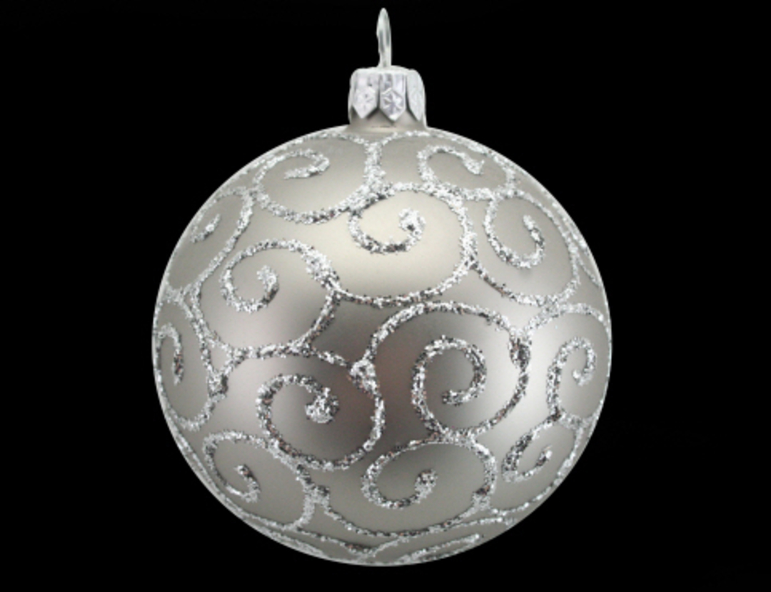 Glass Ball Matt Pewter, Silver Spirals 8cm image 0