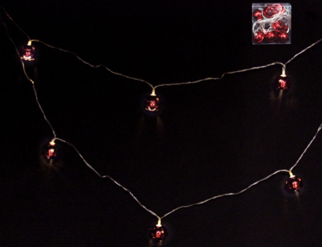 Red Metal Jingle Bells 10 LED Lights 1.8 mtr image 0
