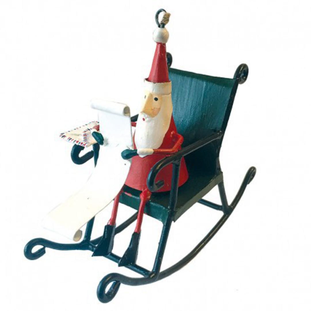 Tin Santa on Rocking Chair image 0