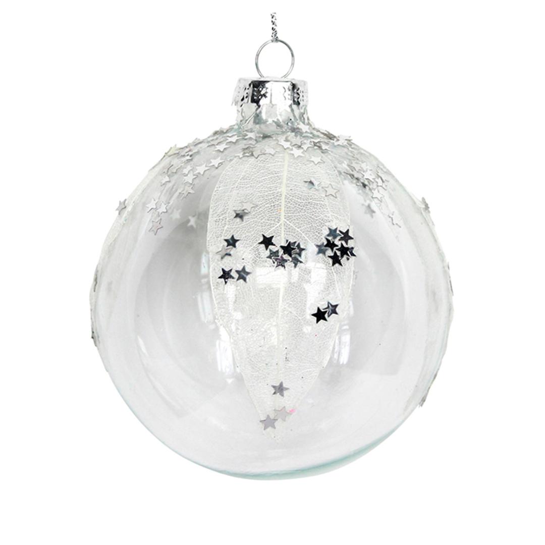 Glass Ball Clear, Mesh Leaf Stars 8cm image 0