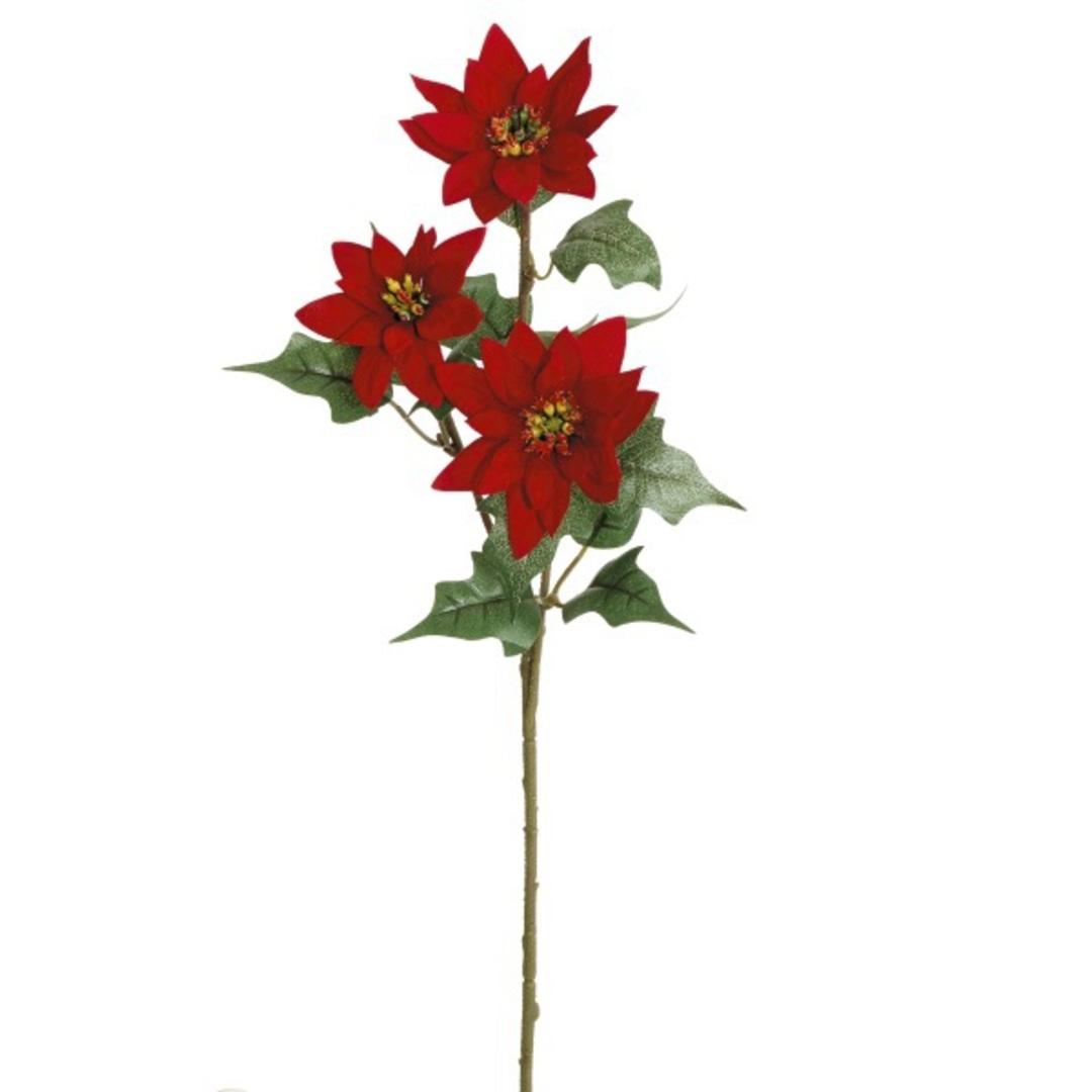 Velvet Poinsettia Spray 56cm image 0