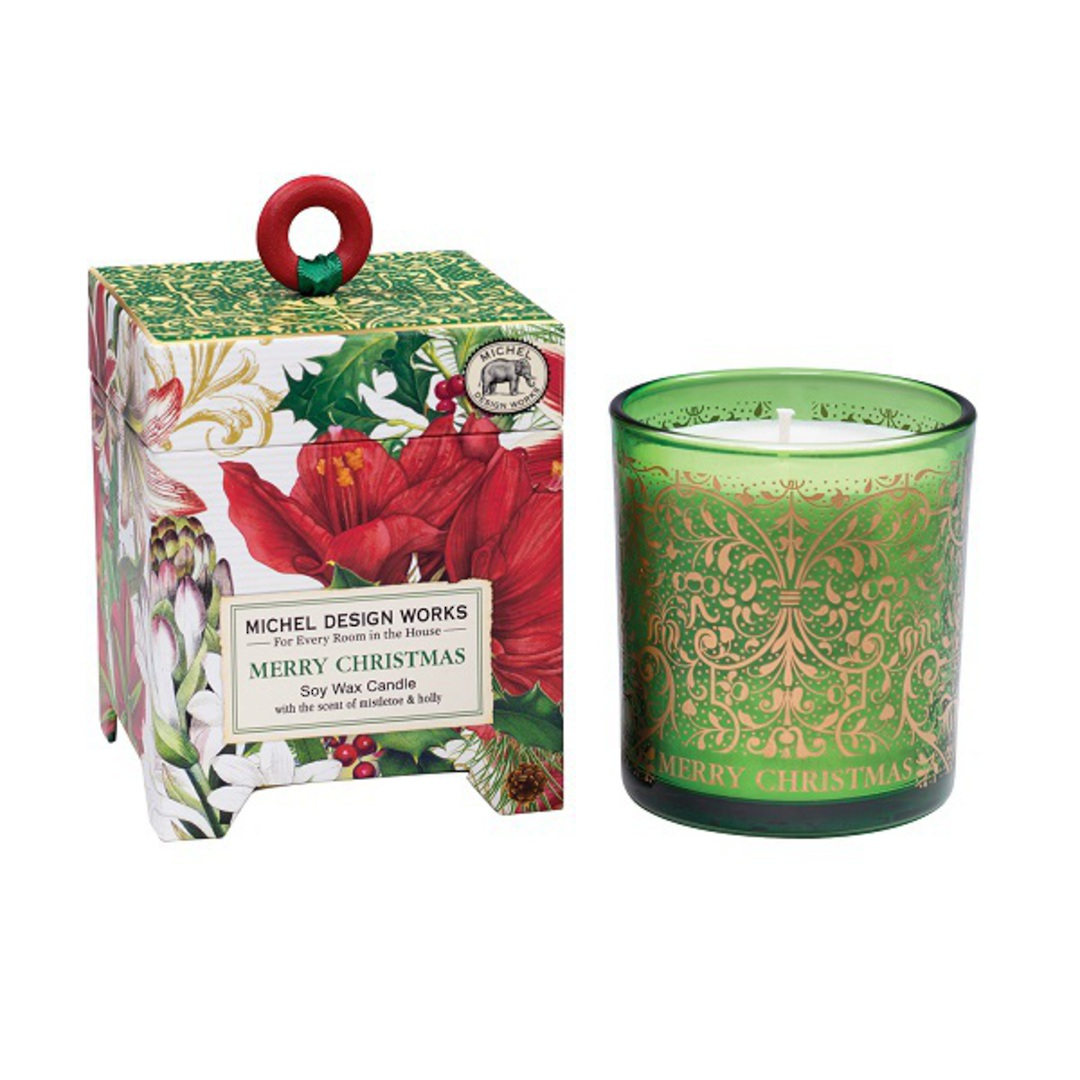 Merry Floral Christmas Soy Wax Candle image 0