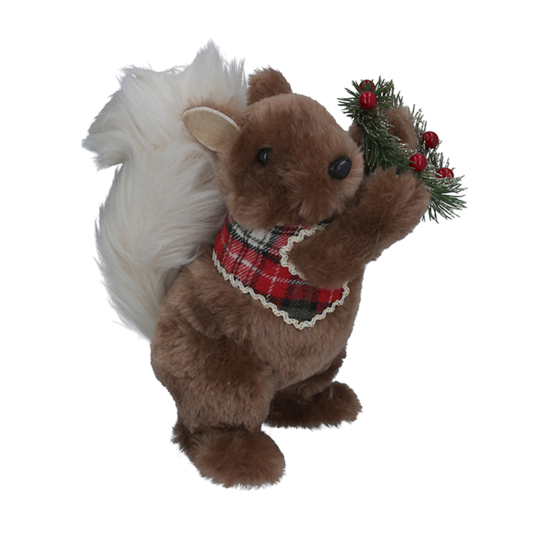 Faux Fur Squirrel Holding Wreath 22cm image 0