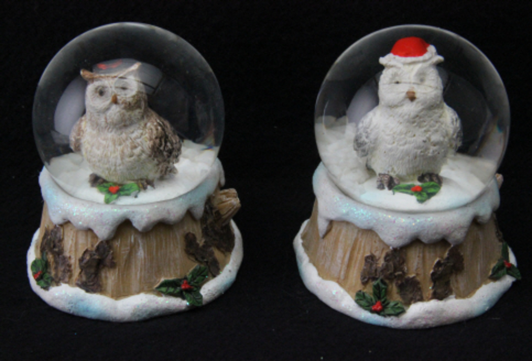 Mini SnowGlobe Snowy Owl 5cm image 0