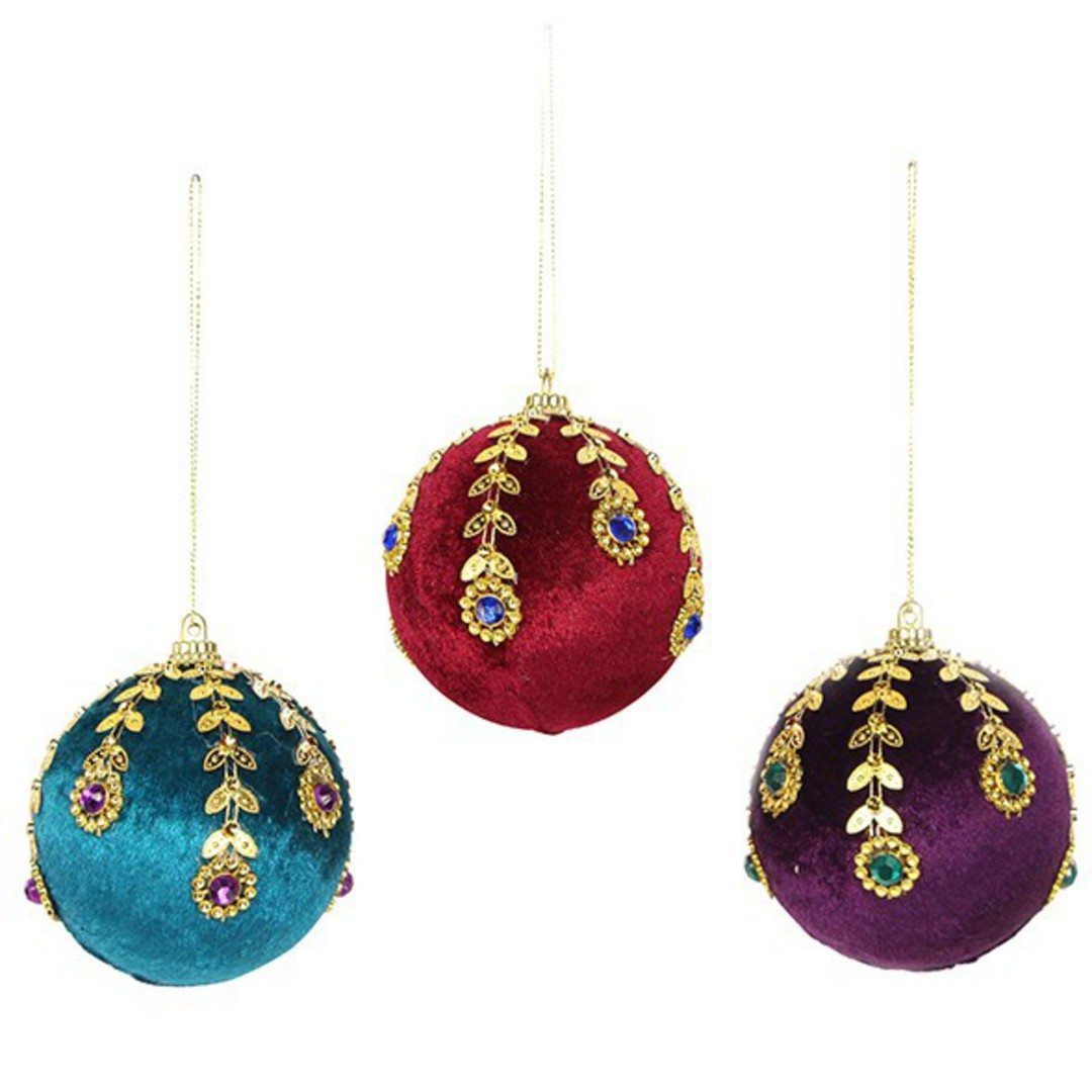 Velvet Ball with Jewelled Pattern 7cm image 0