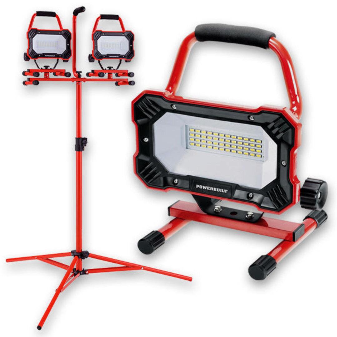 Powerbuilt 2x Portable LED Worklamps w\ Tripod image 0