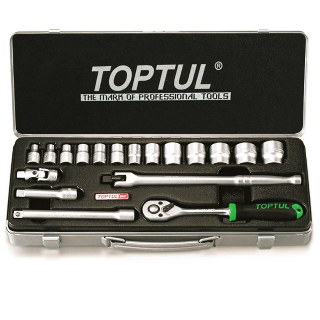 TopTul 18pc Socket Set 3/8Dr Metric image 0