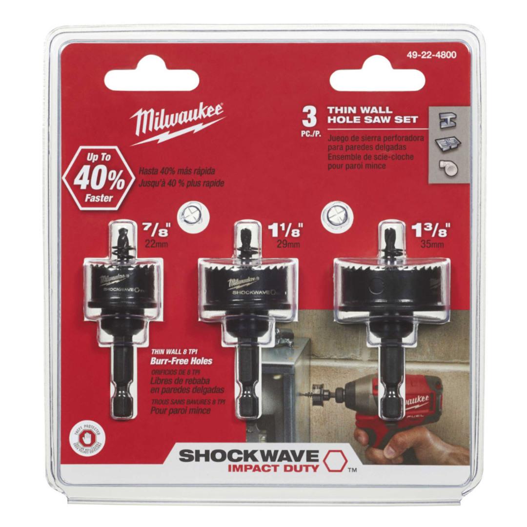 Milwaukee 3PC ThinWall HoleSaws 22 - 35mm image 0