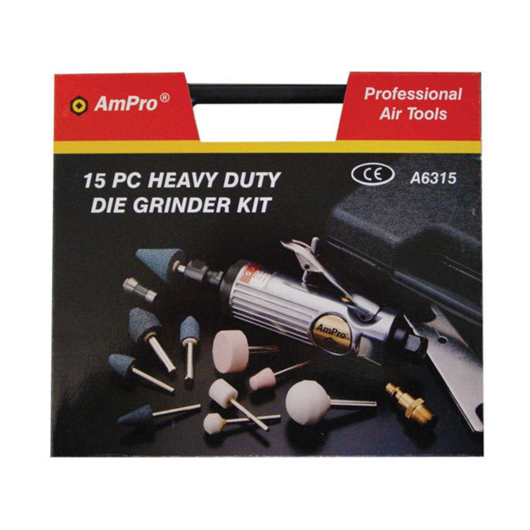 Ampro Air Die Grinder Kit 15pc image 0