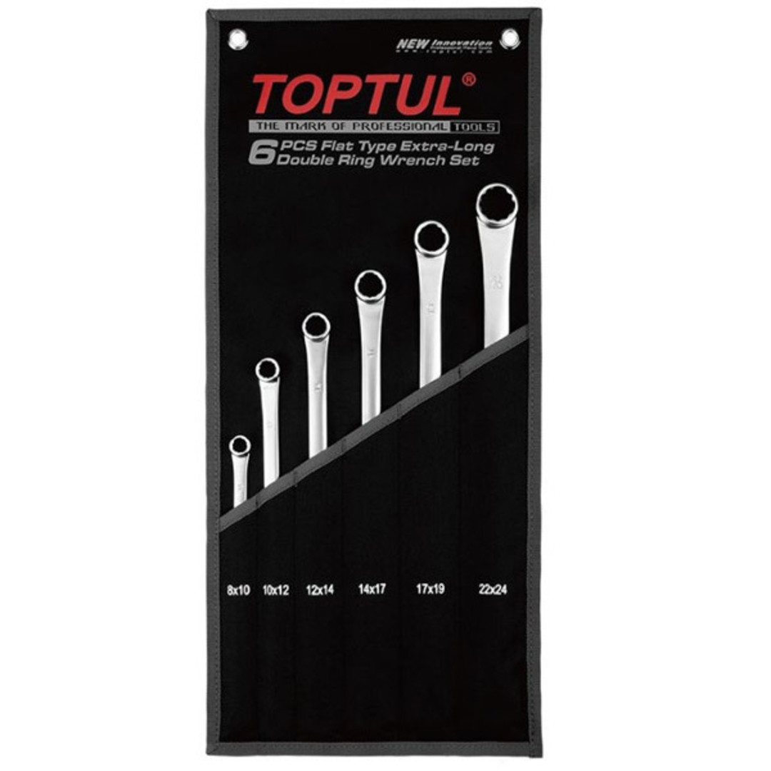 TopTul 6pc Wrench Set Long Double Ring image 0