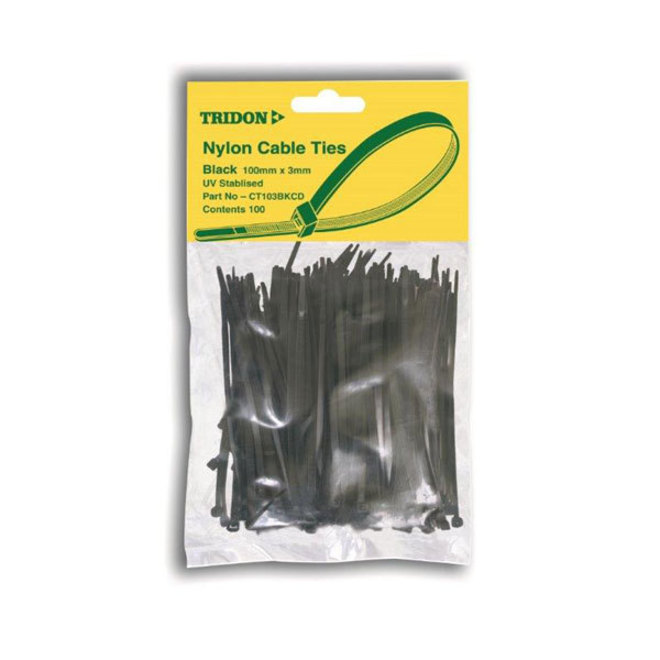 Tridon Cable Ties 4mmx150mm Black 100 pack image 0