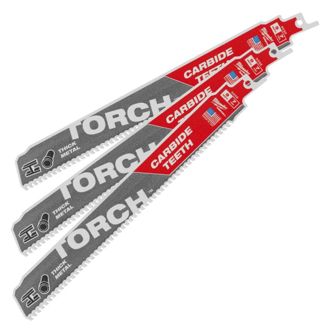 Milwaukee Sabresaw blades 7TPIx230mm Torch Carbide Teeth 3pk image 0