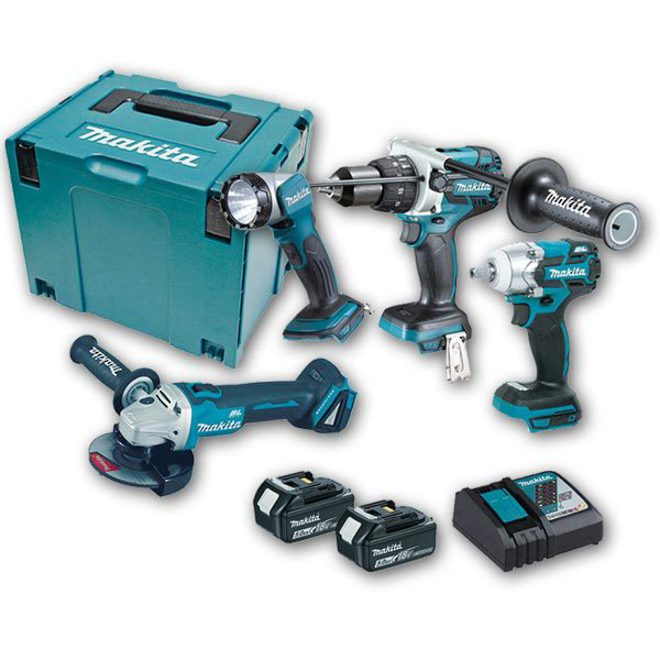 Makita 4pc Brushless Combo Kit with 2 x 5.0Ah Batteries image 0