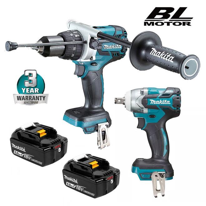 Makita Brushless Impact Wrench & Drill 6.0Ah Combo image 0