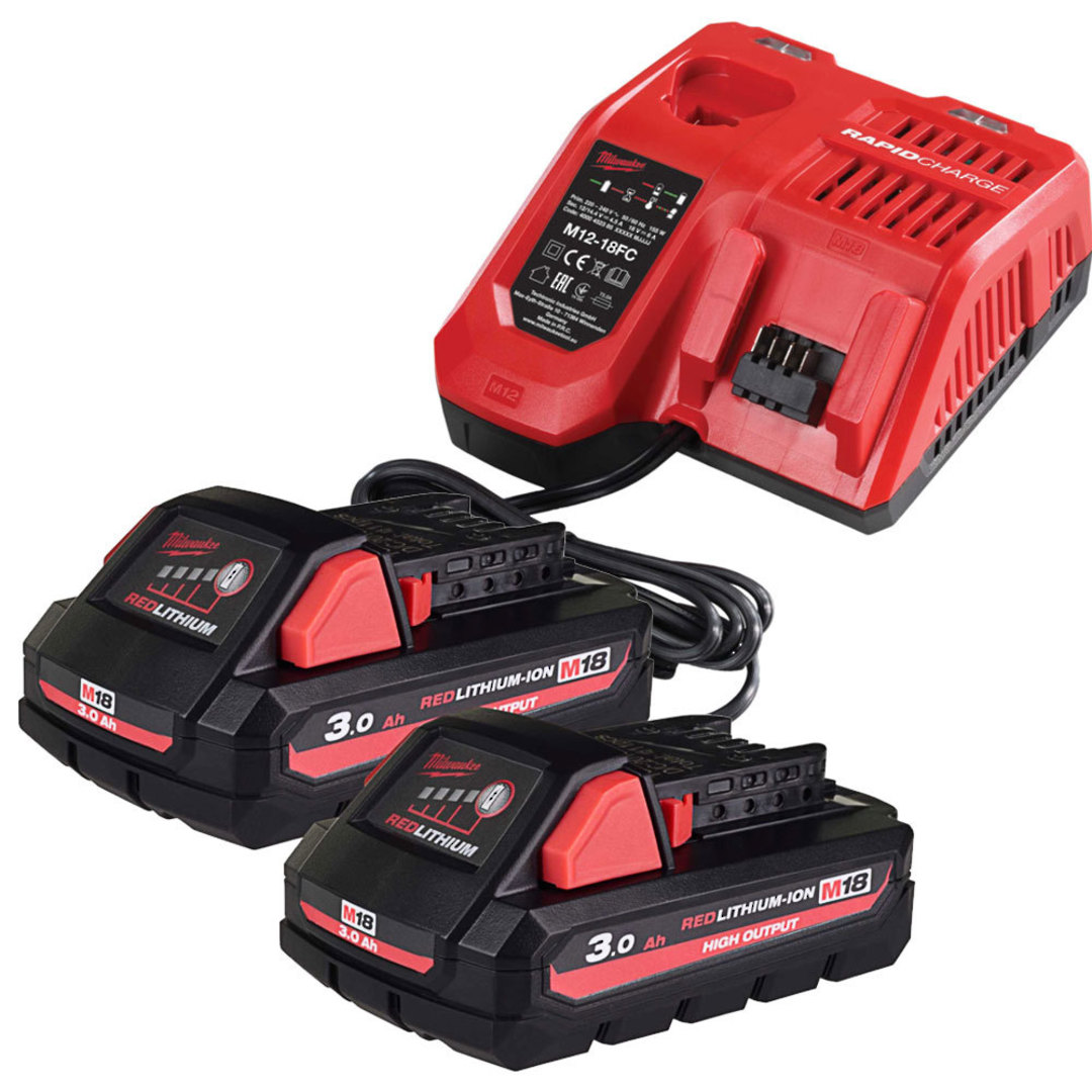 Milwaukee 2 x M18 3Ah High Output Battery & Charger Kit image 0