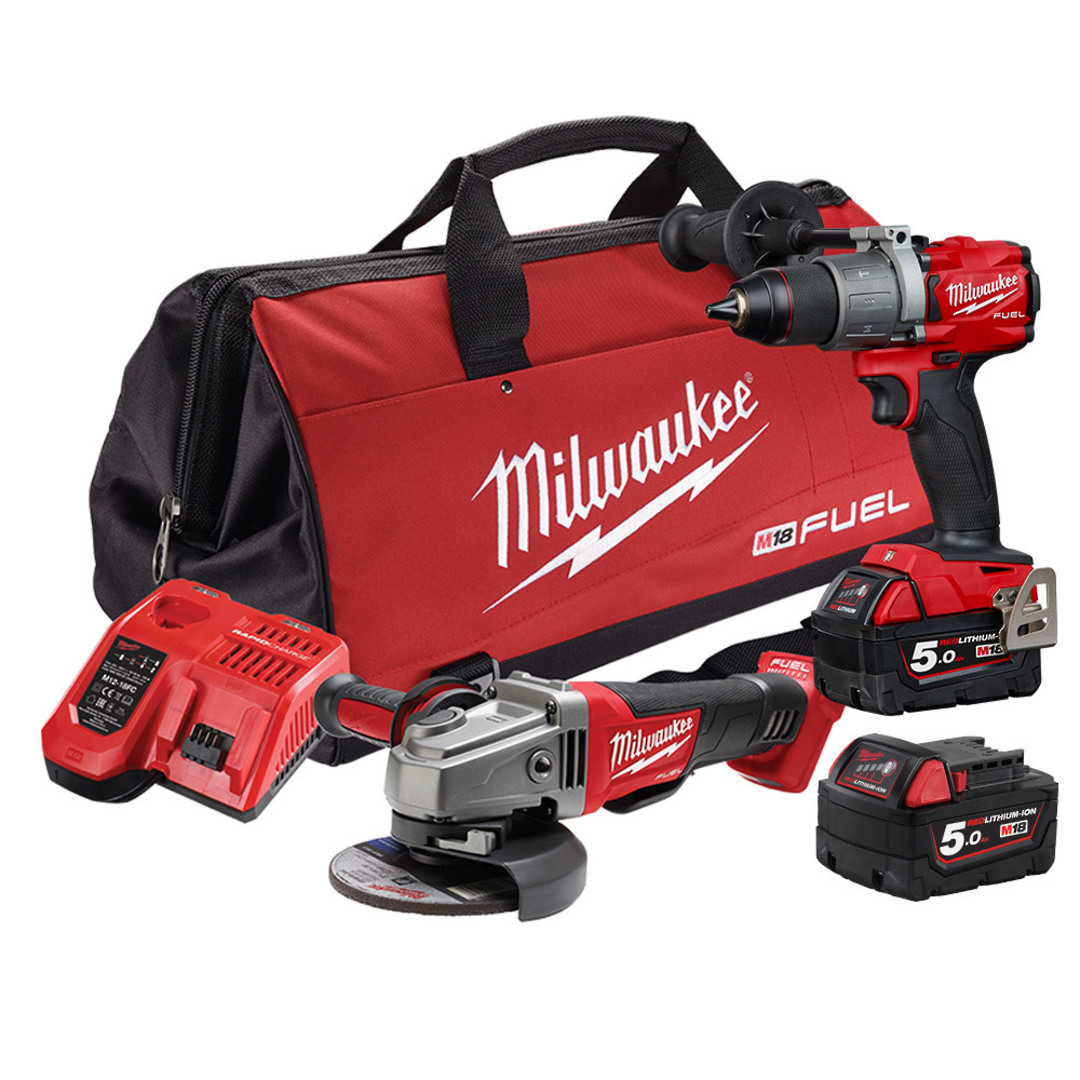 Milwaukee 2pc Drill & Grinder 5AH Kit image 0