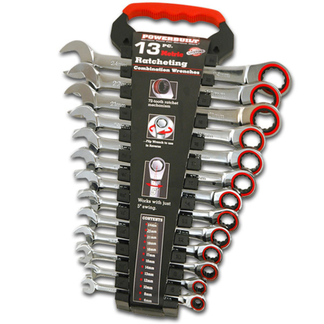 Powerbuilt Metric Ratchet Wrench Set 13pc image 0