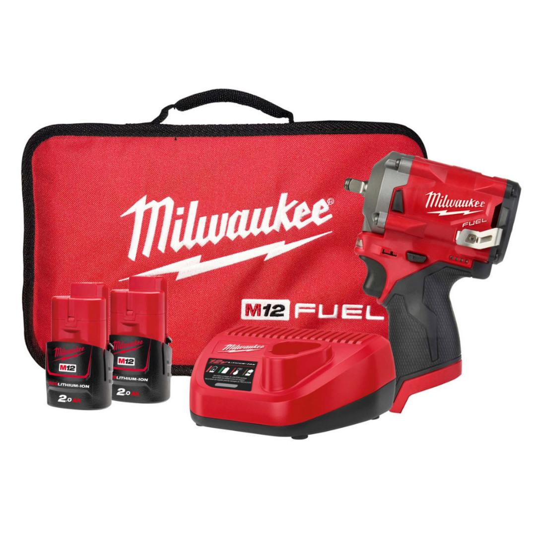 "Milwaukee M12FIWF12-202B 1/2"" Impact Wrench Kit image 0"