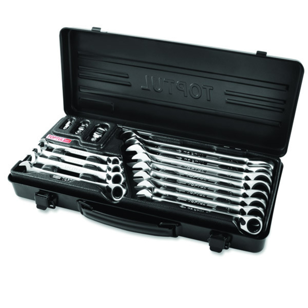 TopTul 15pc Geared Wrench Kit Rev w\ Case image 0