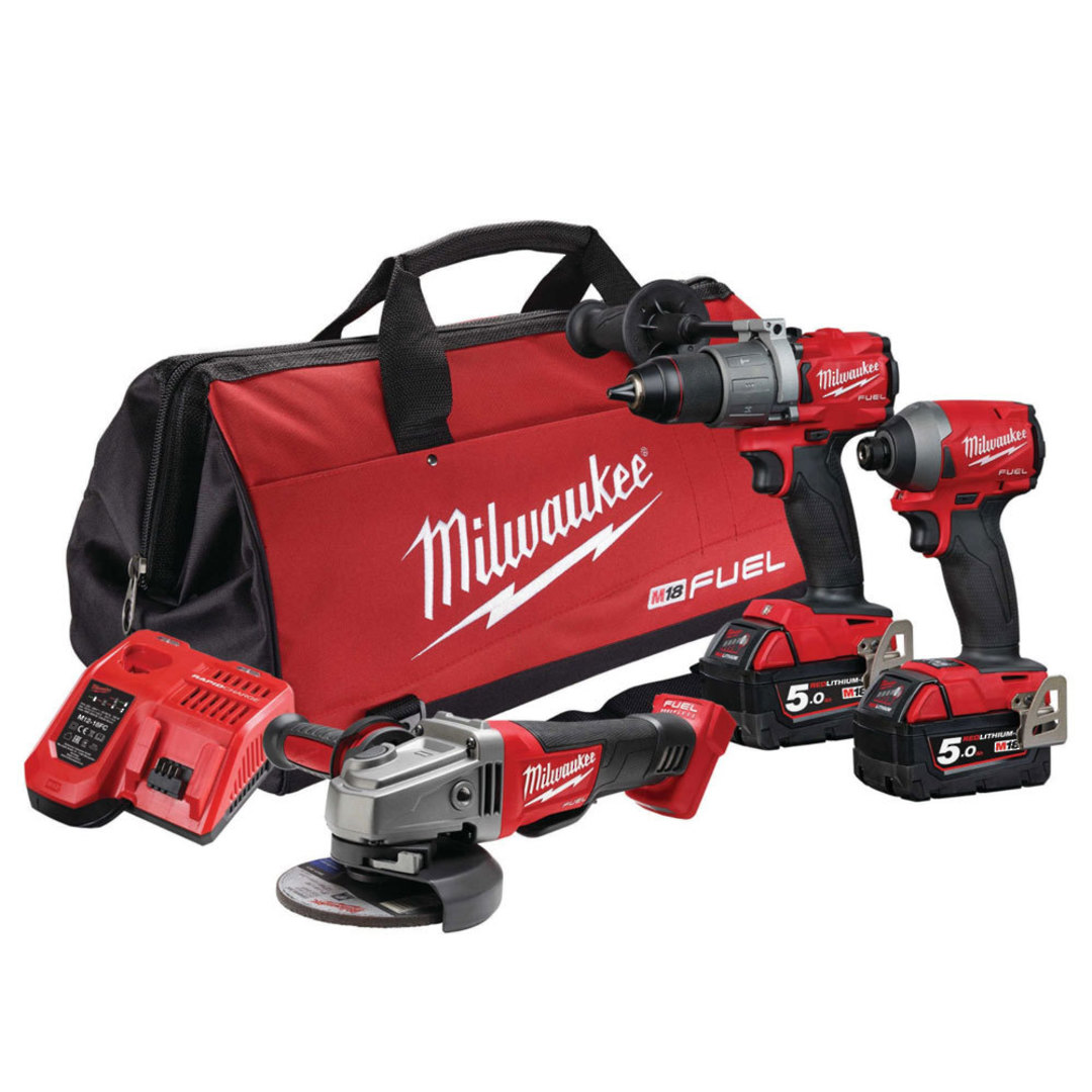 Milwaukee 3pc Drill, Impact Driver & Grinder 5Ah Kit image 0
