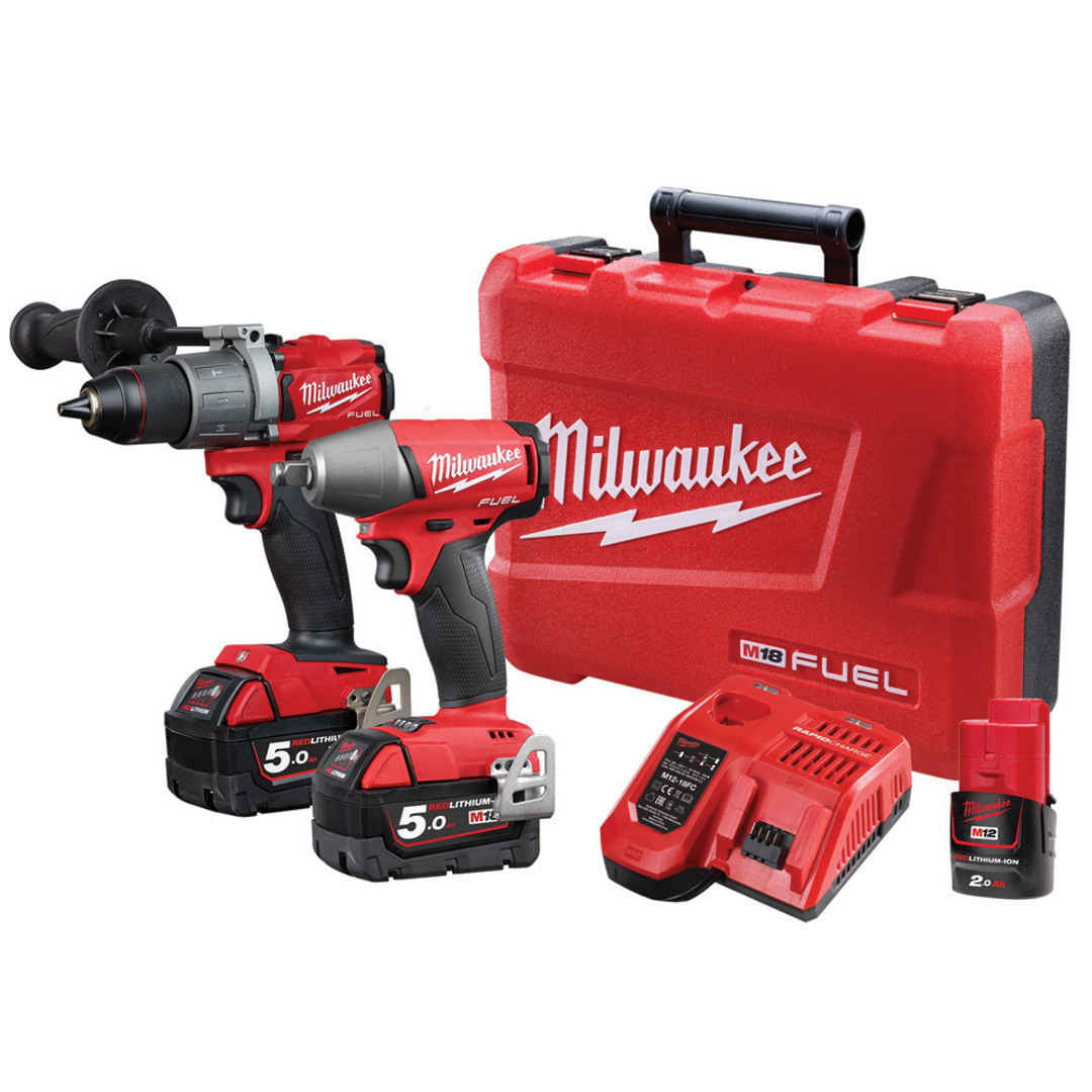 Milwaukee M18FPP2C2-502C 2pc Drill/Wrench Fuel Power Pack image 0