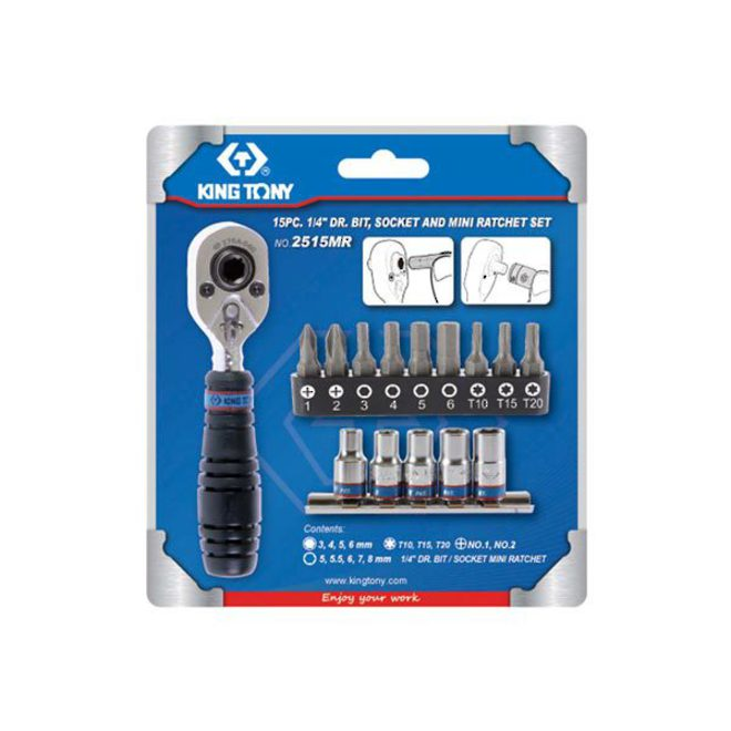 "King Tony 15pc 1/4""Dr Bit & Mini Ratchet Set image 0"